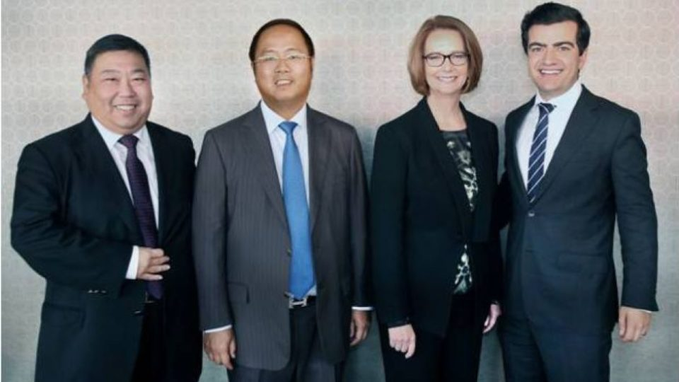 Huang with Ernest Wong Gillard and Dastyari