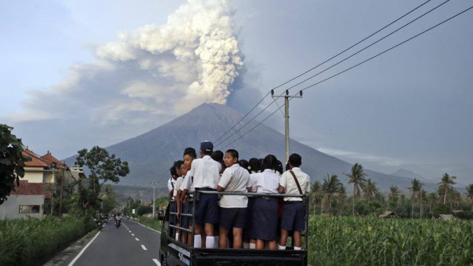 Australian holidaymakers are stranded in Bali after Mount Agung volcano erupted.
