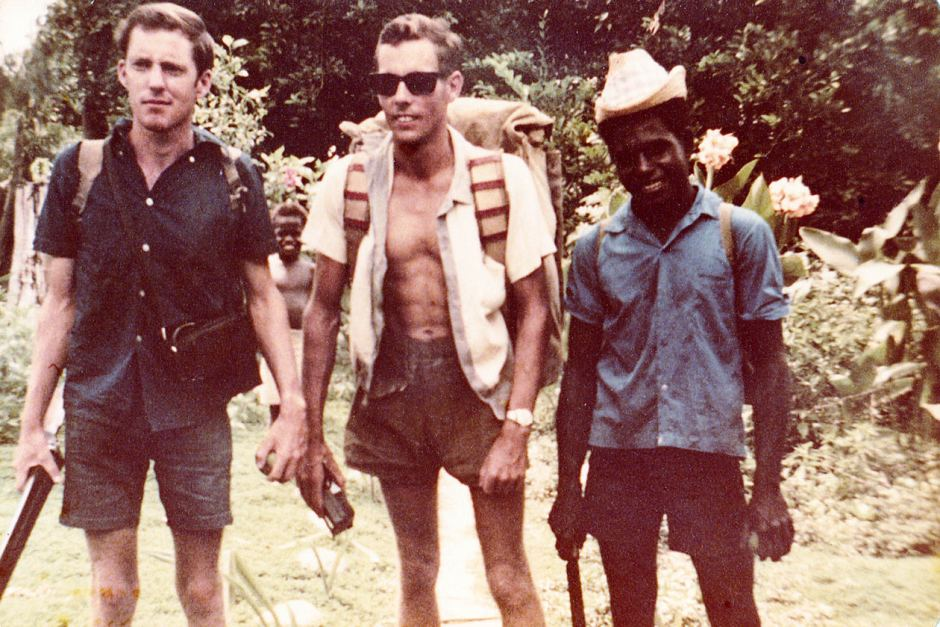 Col Meyers, at left, a young man in Papua New Guinea, about to run into the Bouganville Revolutionary Army.
