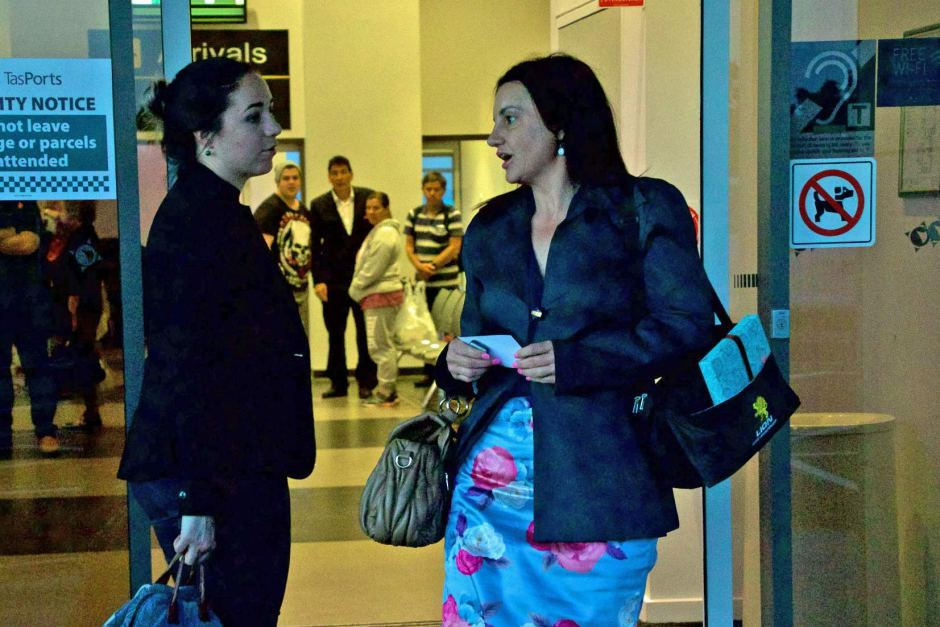 Jacqui Lambie returned to Tasmania late on Tuesday after resigning from her Senate position.