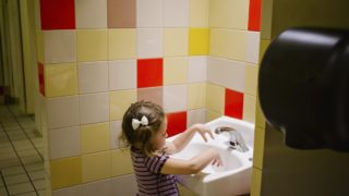 girl in public bathroom
