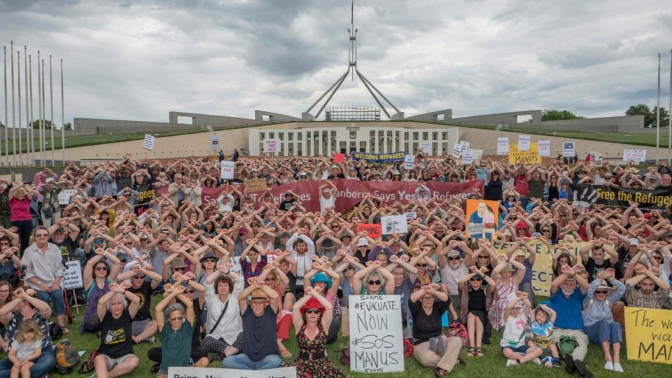 Protesters call for an end to offshore processing on Manus Island and Nauru at Canberra over the weekend.