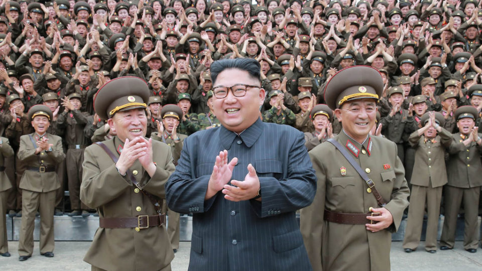 North Korean leader Kim Jong-Un is pictured in August with the Korean People's Army.