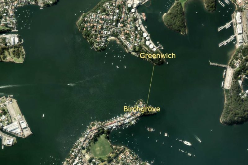 Aerial map showing Greenwich to Birchgrove
