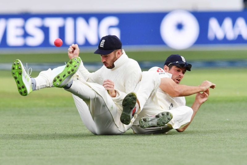 Alastair Cook and James Vince collide trying to take a catch