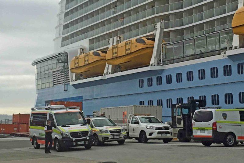 Ambulances greet Ovation of the Seas