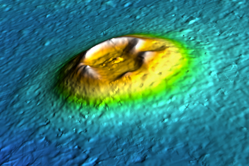 Digital imagery of a Martian volcano