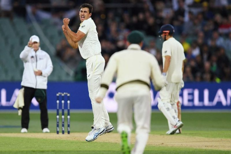 Mitchell Starc is pumped after dismissing Mark Stoneman