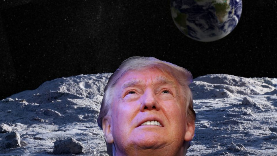 composite image of donald trump on the moon