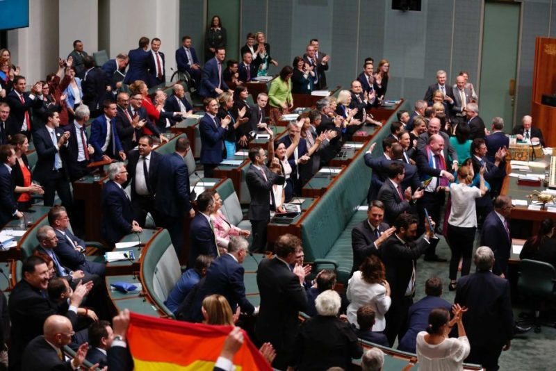 Parliament celebrates the vote for same-sex marriage
