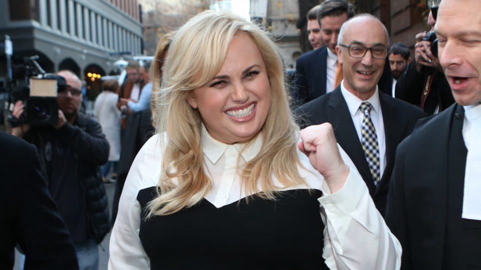 Rebel Wilson leaving the courtroom following the favourable verdict of her defamation case