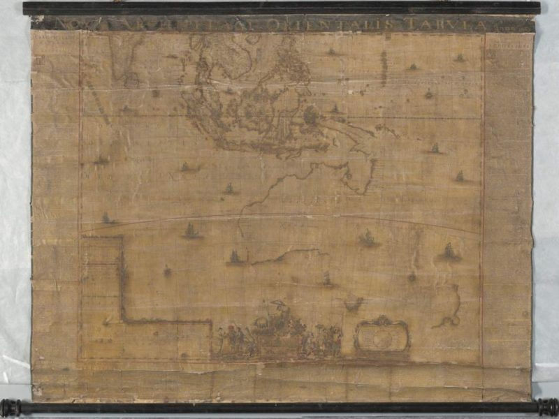 The 1663 Blaue map before treatment at the National Library of Australia