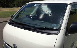 Holes can be seen in a van at Sydney's Centennial Park.