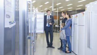 Family buying fridge, appliances, home appliances