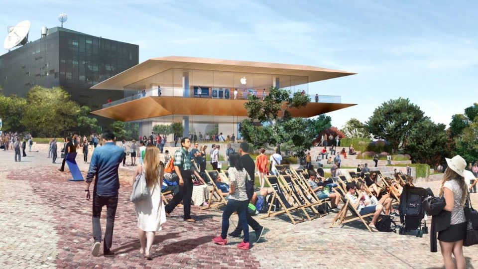 The planned two storey Apple concept store at Federation Square is pictured.