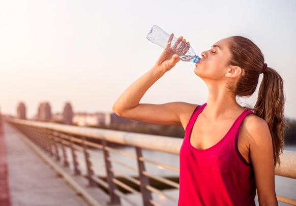 woman water running