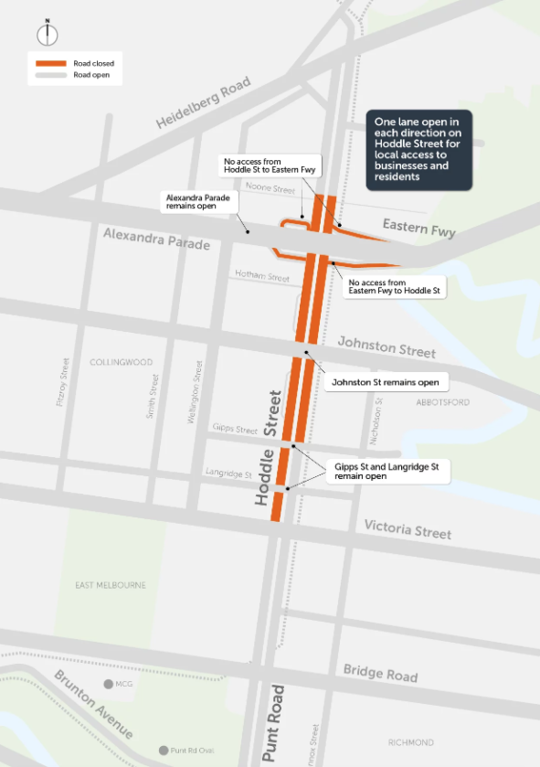 Hoddle Street will be closed between the Eastern Freeway and Victoria Parade until 11.30pm on January 14.