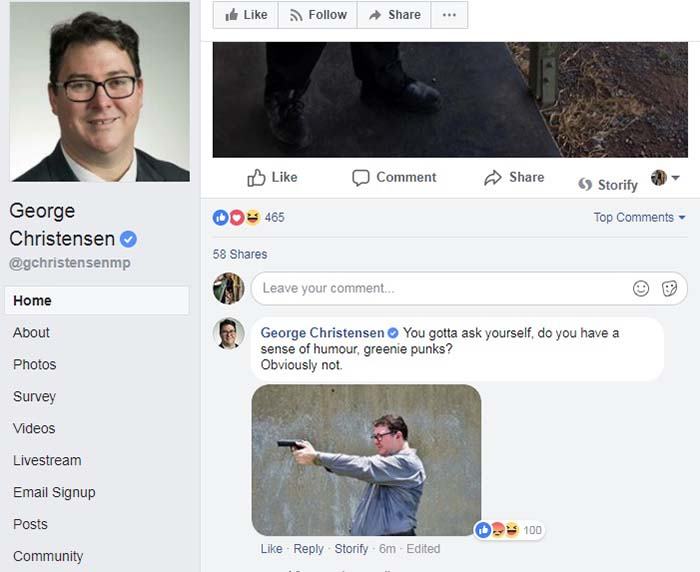 Australia MP George Christensen criticised over gun photo