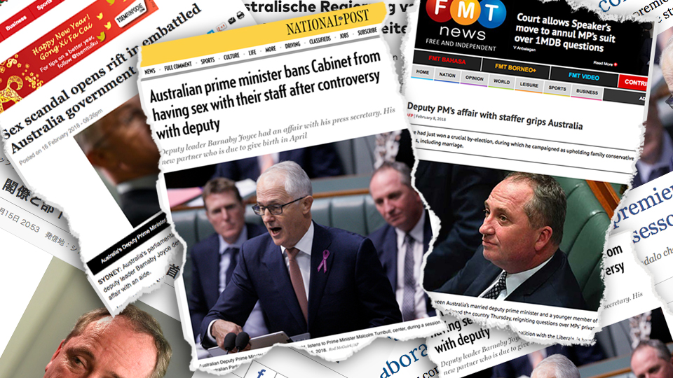 Clippings of international news articles detailing the Barnaby Joyce sex scandal