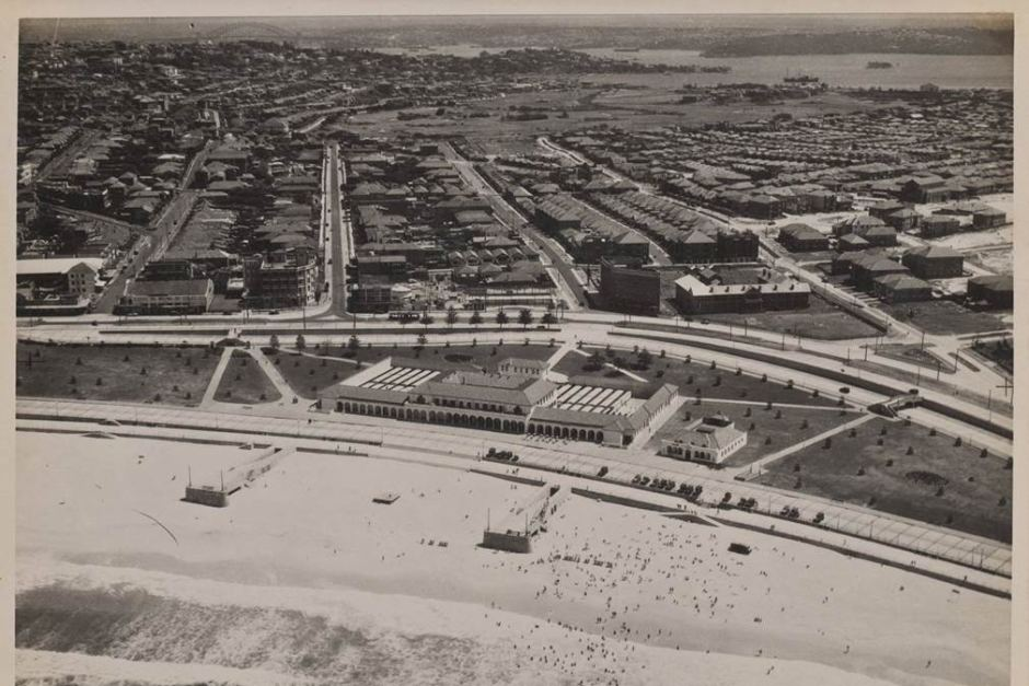An aerial shot over Bondi Beach, showing the pavilion, in 1940.
