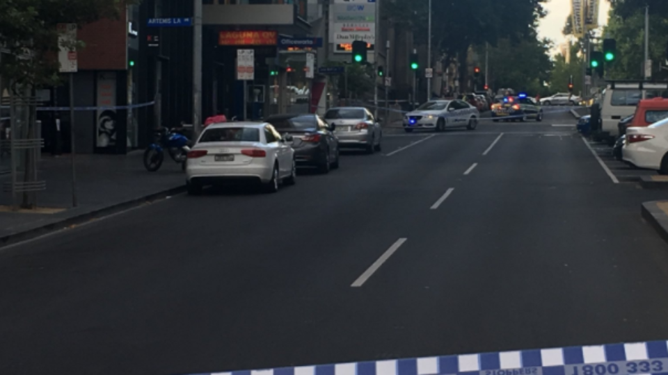 Businesses have been evacuated on Russell Street in Melbourne.