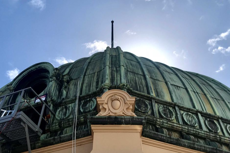 The dome of Flinders Street station has been restored and cleaned.