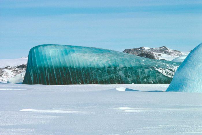 A jade-coloured iceberg near Mawson Base, Australian Antarctic Territory