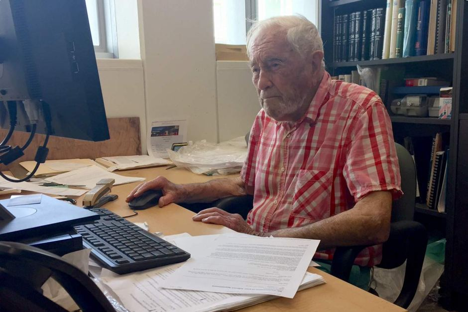 David Goodall at his desk