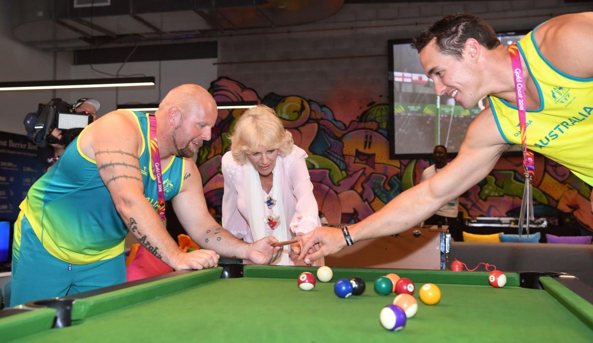 Camilla plays snooker