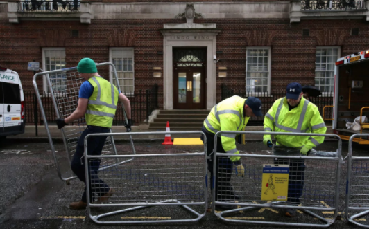 Crowd barriers outside the Lindo Wing.