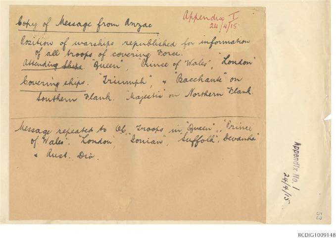General Staff, Headquarters 1st Australian Division unit diary, April 1915
