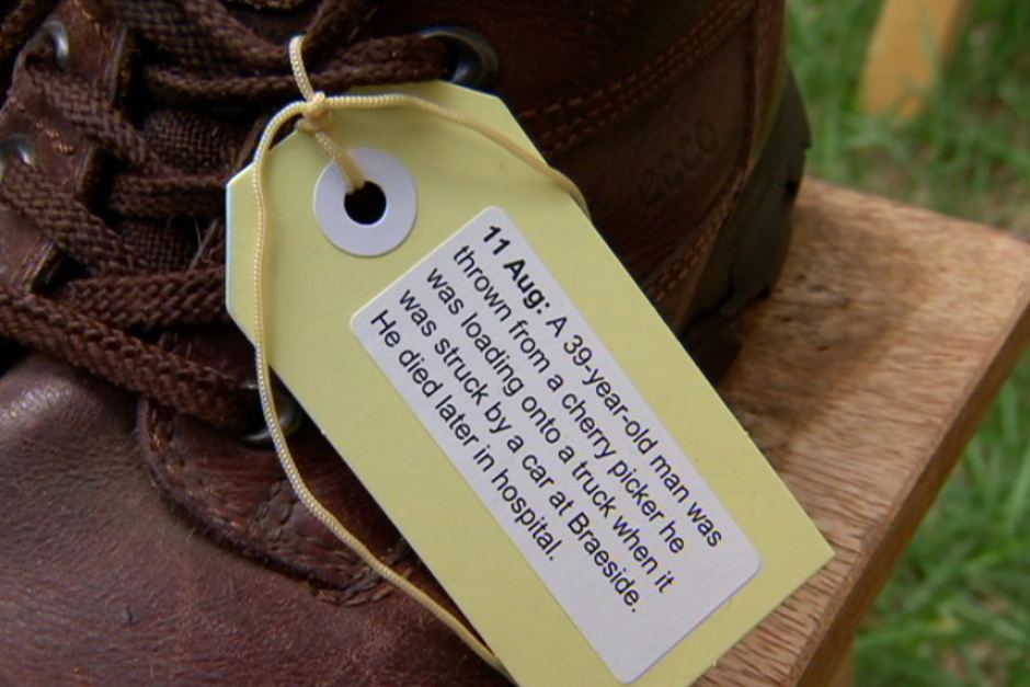 The shoes of those killed in workplace accidents were part of the union memorial.