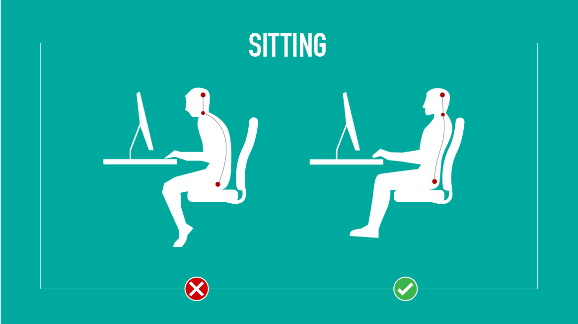 Keep the feet flat on the floor while sitting.