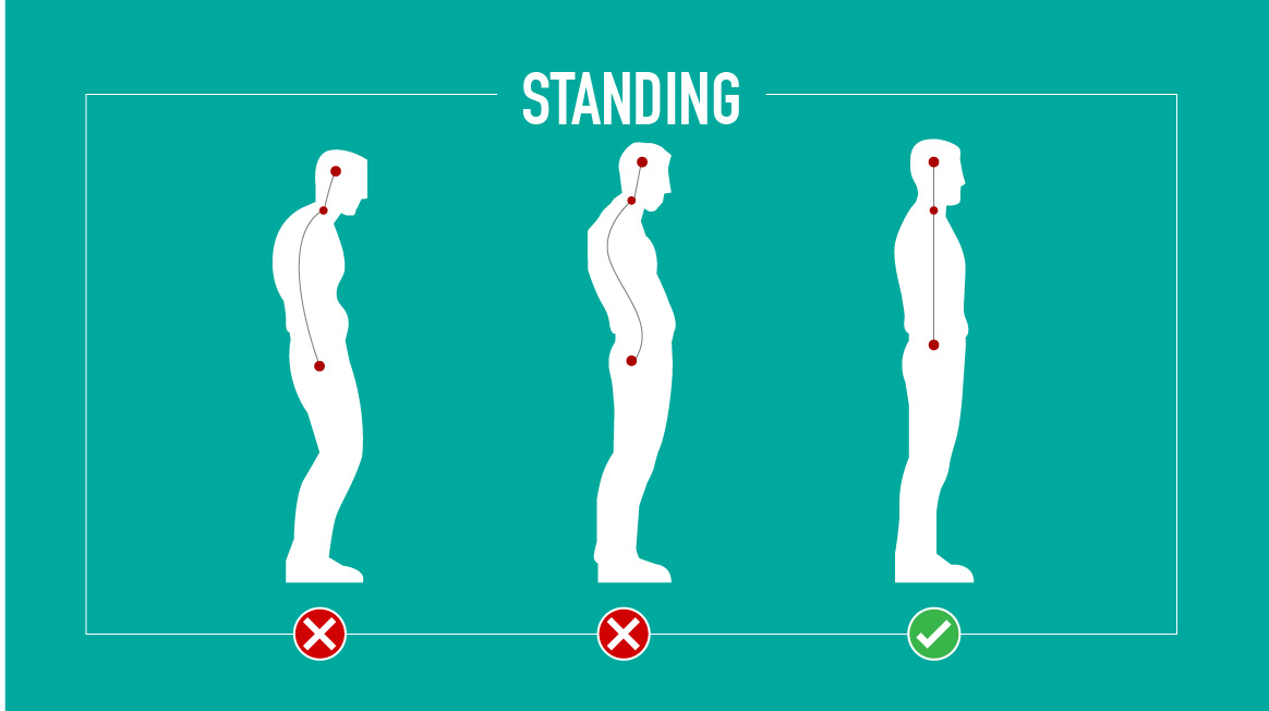 Slouched shoulders can effect your posture while standing.