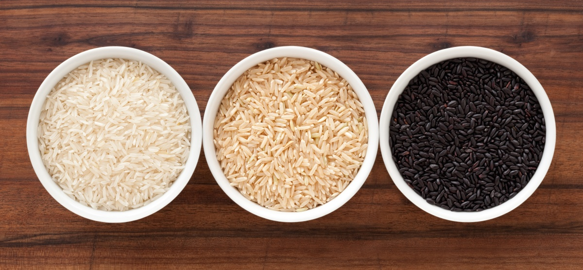 A mixture of different rice including basmati, brown and black.