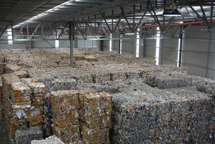 Cleanaway's South Guildford storage shed is at capacity amid a recycling crisis.