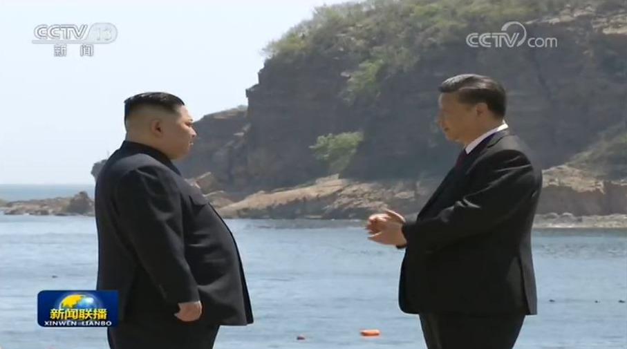 North Korea leader Kim Jong-un with Xi Jinping in Dalian
