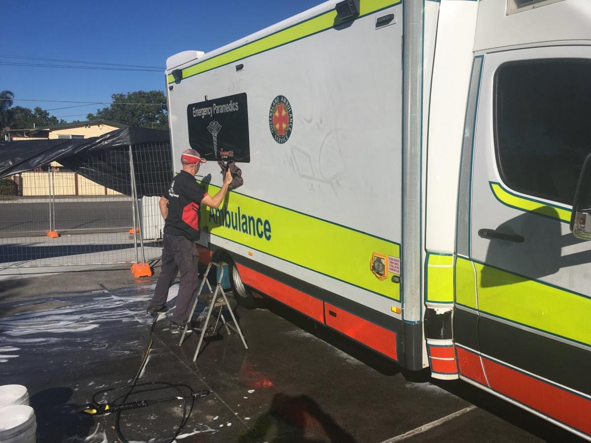 queensland ambulance vandalism graffiti