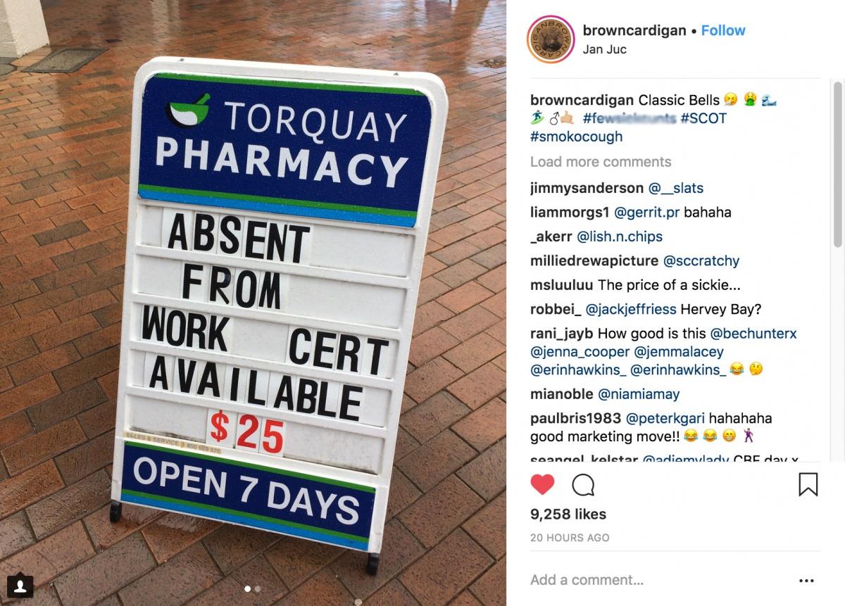 Pharmacy sick notes post