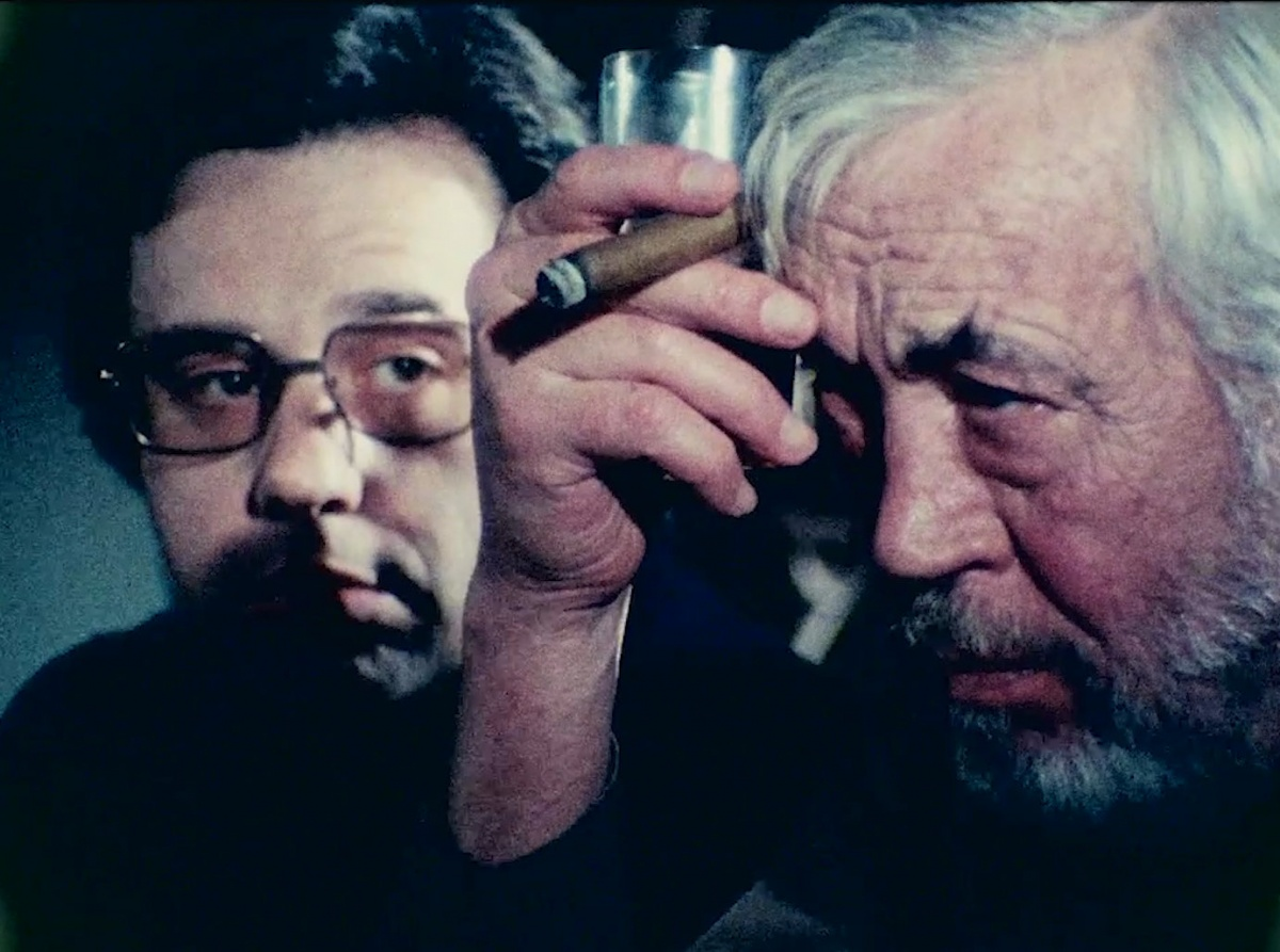 """Peter Bogdanovich and John Huston in """"The Other Side of the Wind,"""" which Orson Welles directed and left unfinished upon his death in 1985. The film will finally be released in November."""