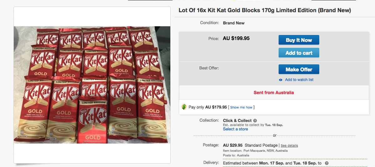 Consumers Are Spending More Than 100 On Ebay To Stock Up Kitkat Gold