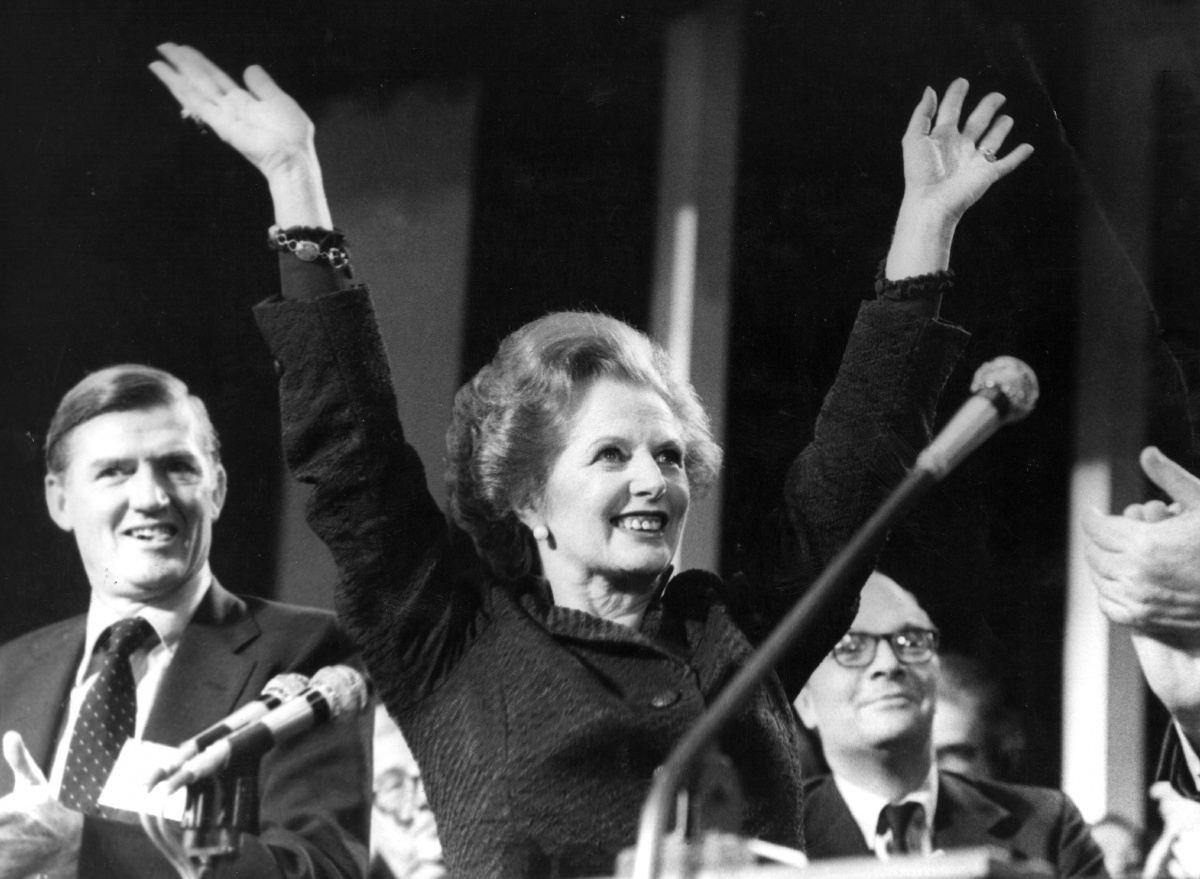 UK prime minister Margaret Thatcher, icon of the neoliberal revolution, in 1985.
