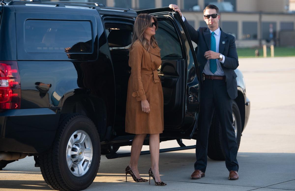 Melania Trump leaves US
