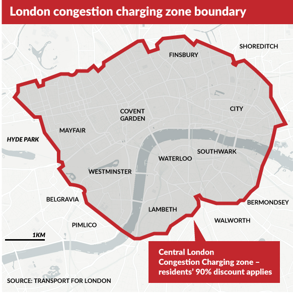 A map of London's congestion charge zone.