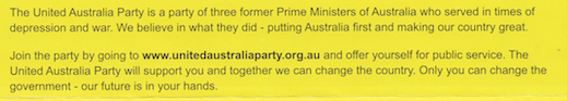 clive palmer united australia party flyer prime ministers