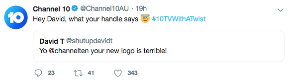Ten fights back tweet