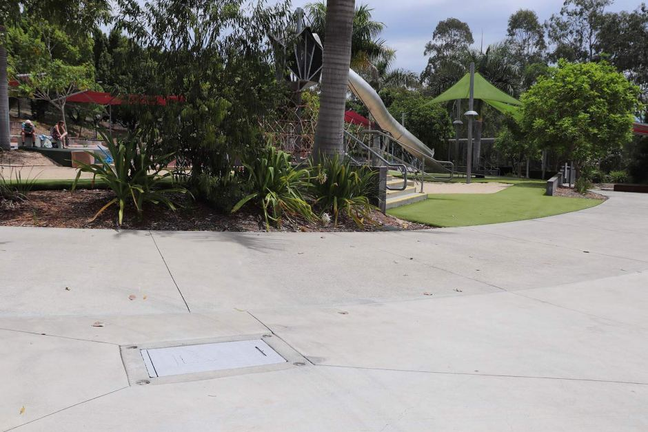 The metal plate that burnt the toddler's feet has since been painted by Ipswich City Council.