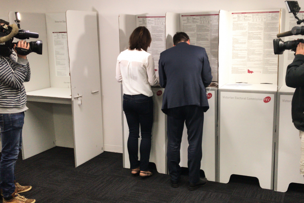 matthew guy casts his vote in the Victorian election
