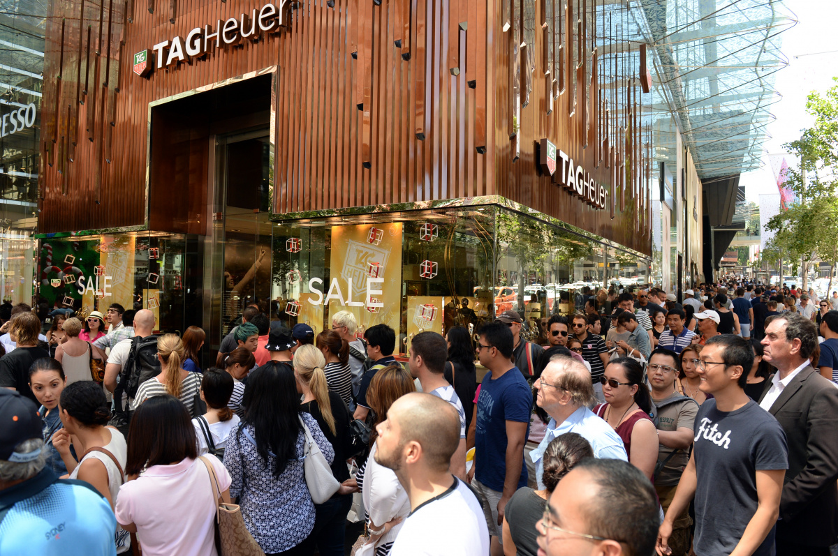 Shoppers in Sydney flock to the stores to snap up a bargain.