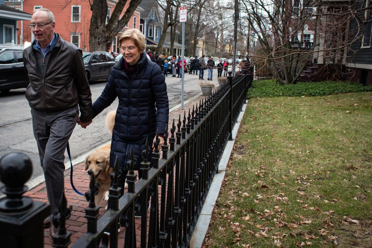 Senator Elizabeth Warren and husband Bruce Mann